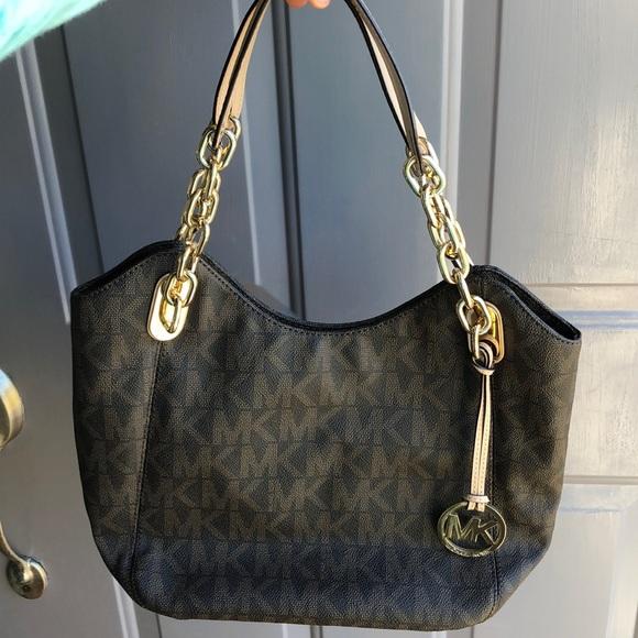 Michael Kors Handbags - Brown and cream Michael Kors shoulder tote